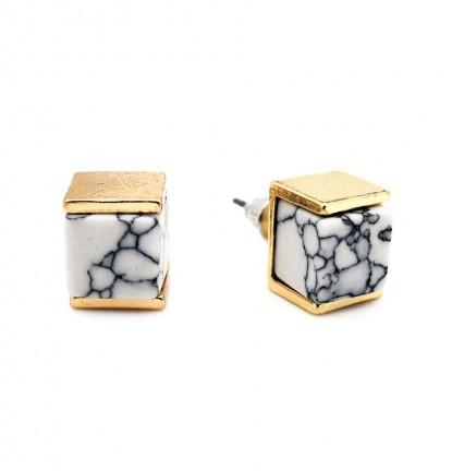 Cubic Marble Ear Stud