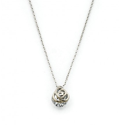 Dainty Rose Necklace in Silver