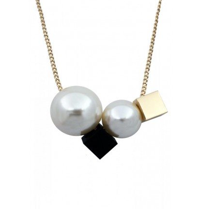 Double Pearl Necklace in Gold Chain
