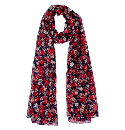 Eureka Flower Scarf in Dark Blue