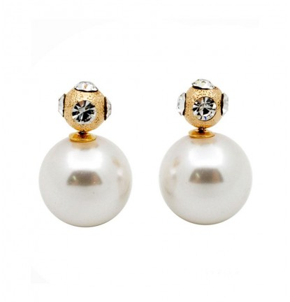 Glitz Pearl Double-Sided Earring In Gold