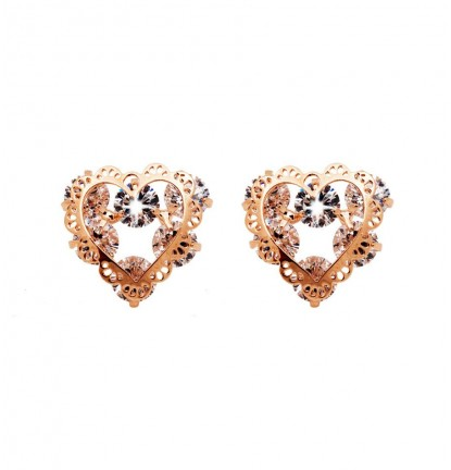 Romantic Lace Heart Ear Stud in Rose Gold