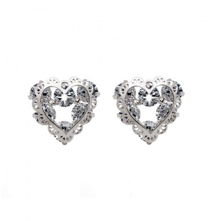 Romantic Lace Heart Ear Stud in Silver