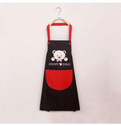 ♥ Little Bear Design ♥  Apron for Home or Business - Black [Logo Printing Available]