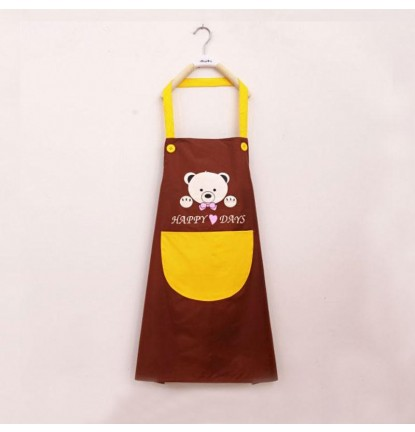 ♥ Little Bear Design ♥  Apron for Home or Business - Brown [Logo Printing Available]