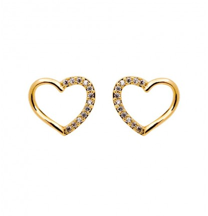 Classic Sparkling Heart Ear Stud in Gold