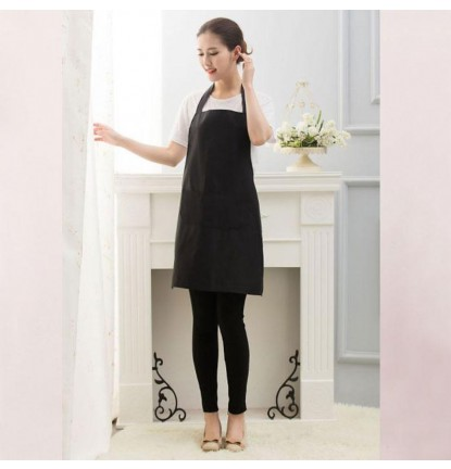 Simply Plain Colored Apron for Home or Business - Adult Black [Logo Printing Available]