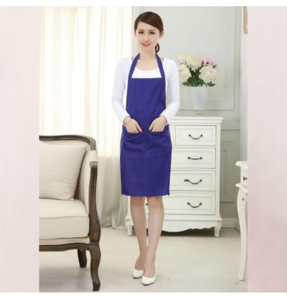 Simply Plain Colored Apron for Home or Business - Adult Blue [Logo Printing Available]