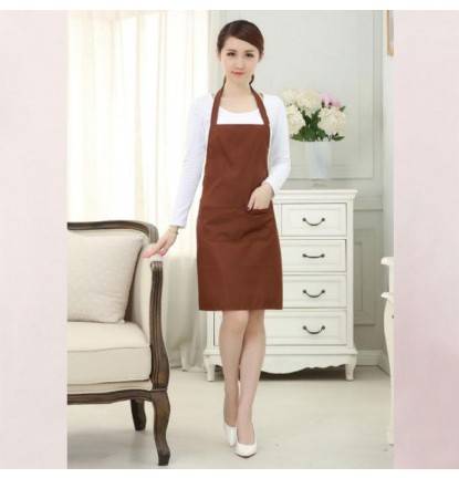 Simply Plain Colored Apron for Home or Business - Adult Brown [Logo Printing Available]