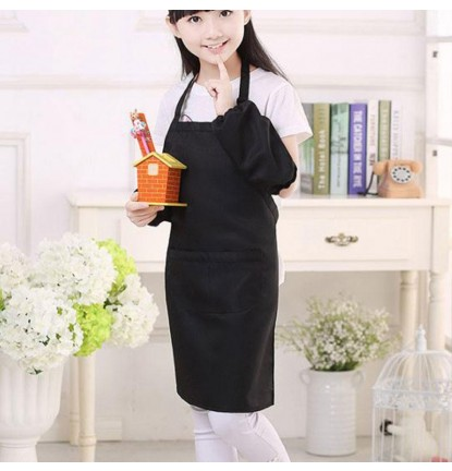Simply Plain Colored Apron for Home or School - Kid's Size Black [Logo Printing Available]