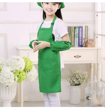 Simply Plain Colored Apron for Home or School - Kid's Size Green [Logo Printing Available]