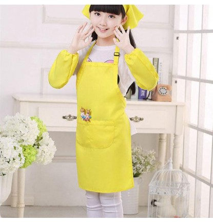 Simply Plain Colored Apron for Home or School - Kid's Size Yellow [Logo Printing Available]