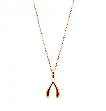 Wishing Bone Necklace in Rose Gold